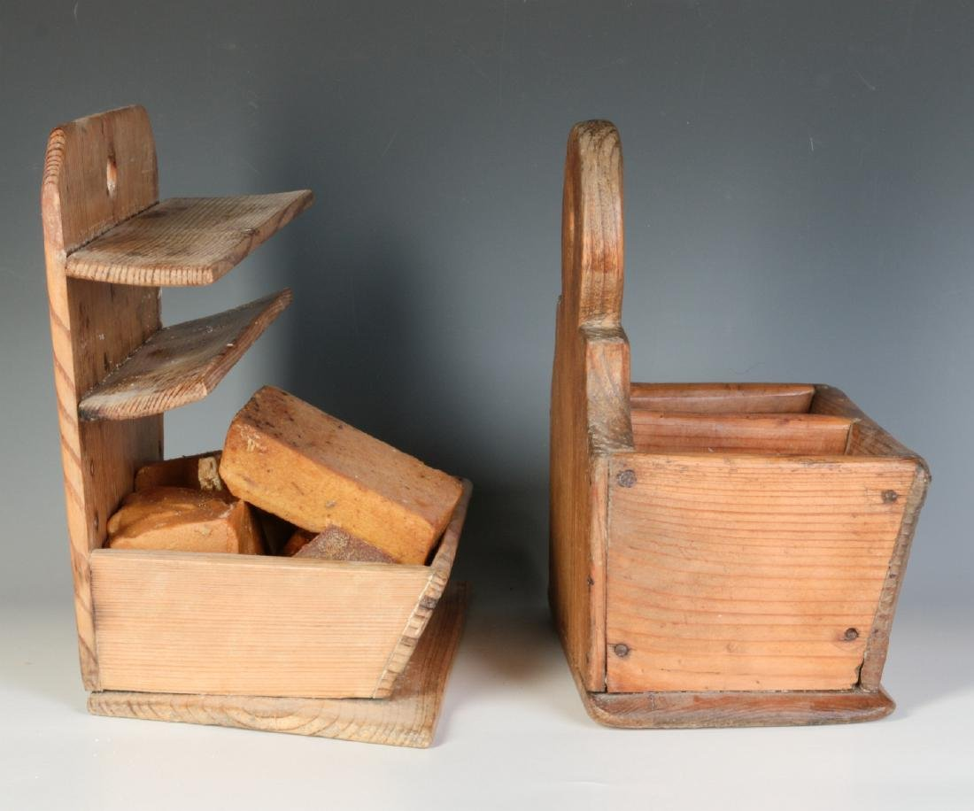 TWO 19TH CENTURY PINE WALL HANGING SOAP BOXES - 5