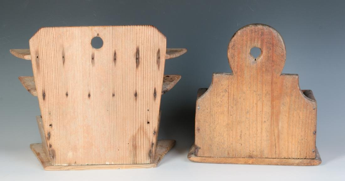 TWO 19TH CENTURY PINE WALL HANGING SOAP BOXES - 6