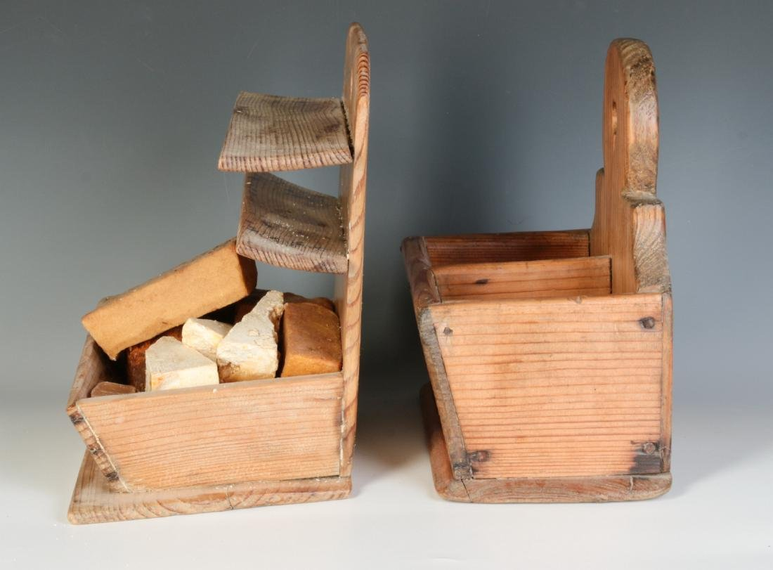 TWO 19TH CENTURY PINE WALL HANGING SOAP BOXES - 7
