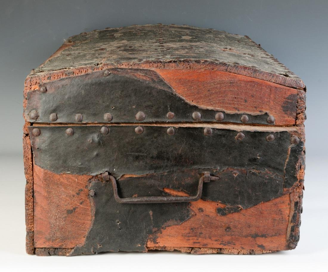 A CIRCA 1800 LEATHER COVERED DOMETOP BOX - 3