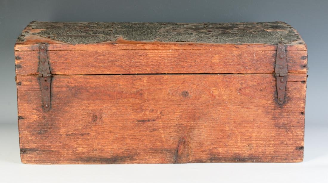 A CIRCA 1800 LEATHER COVERED DOMETOP BOX - 4