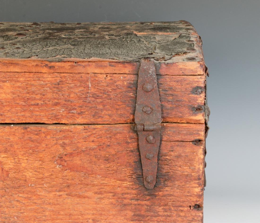 A CIRCA 1800 LEATHER COVERED DOMETOP BOX - 5