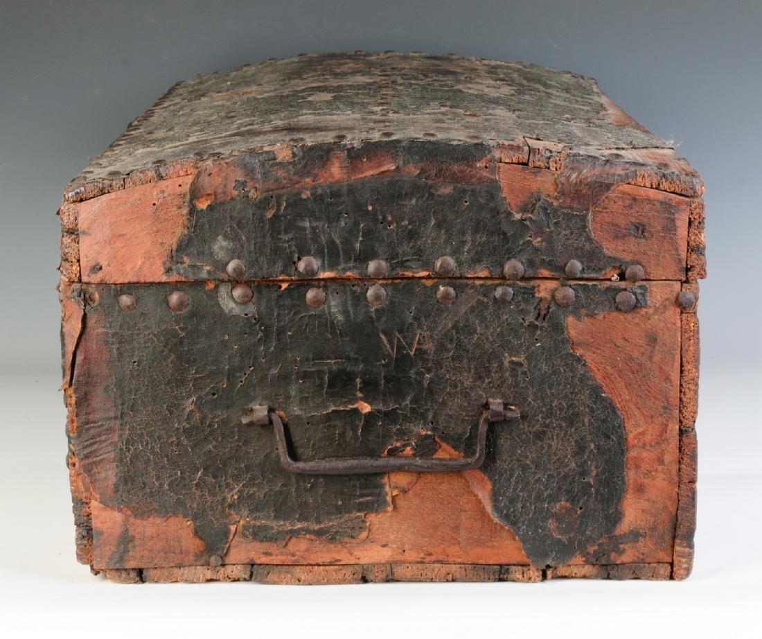 A CIRCA 1800 LEATHER COVERED DOMETOP BOX - 6