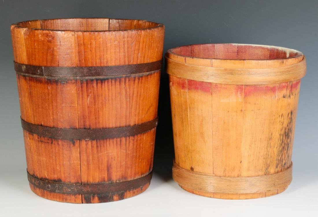 TWO 19TH CENTURY STAVE CONSTRUCTION CONTAINERS