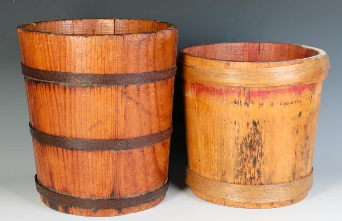TWO 19TH CENTURY STAVE CONSTRUCTION CONTAINERS - 2