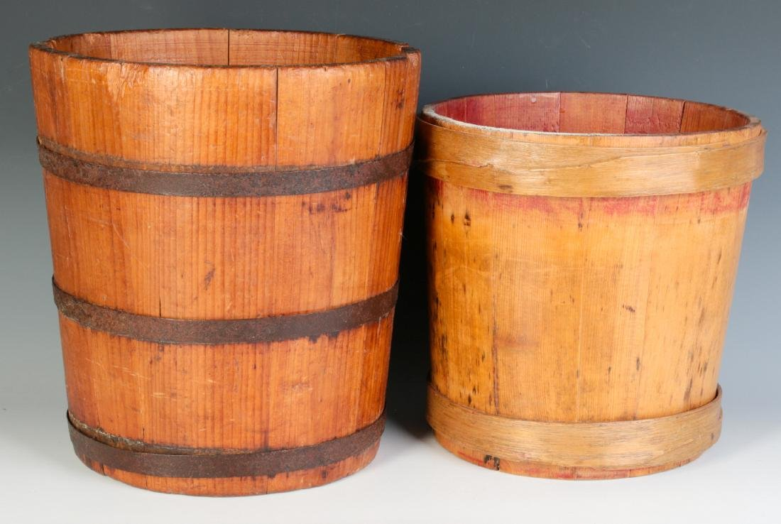 TWO 19TH CENTURY STAVE CONSTRUCTION CONTAINERS - 3