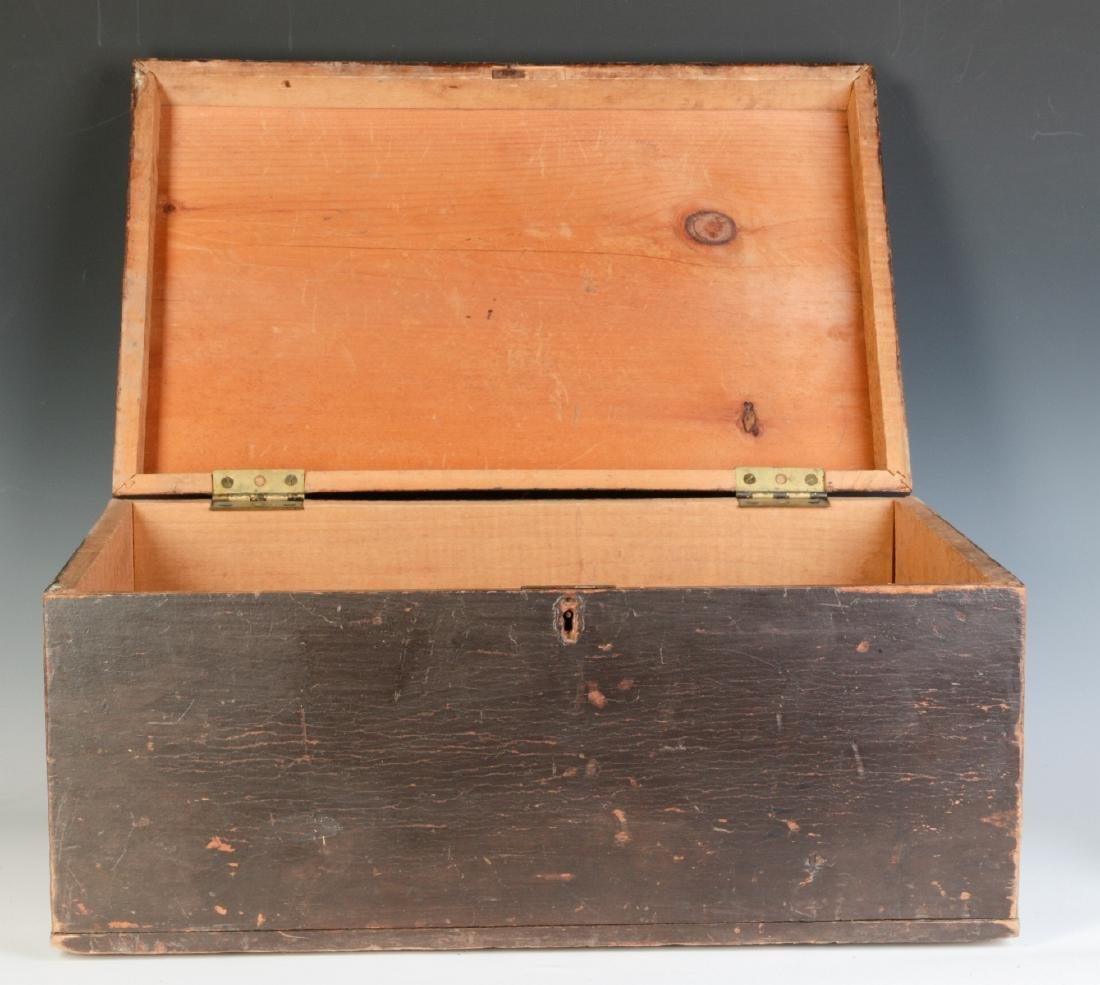 A 19TH CENTURY STORAGE BOX IN OLD BROWN PAINT - 2