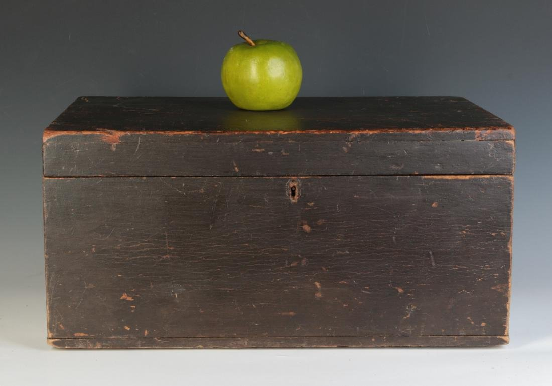 A 19TH CENTURY STORAGE BOX IN OLD BROWN PAINT - 3