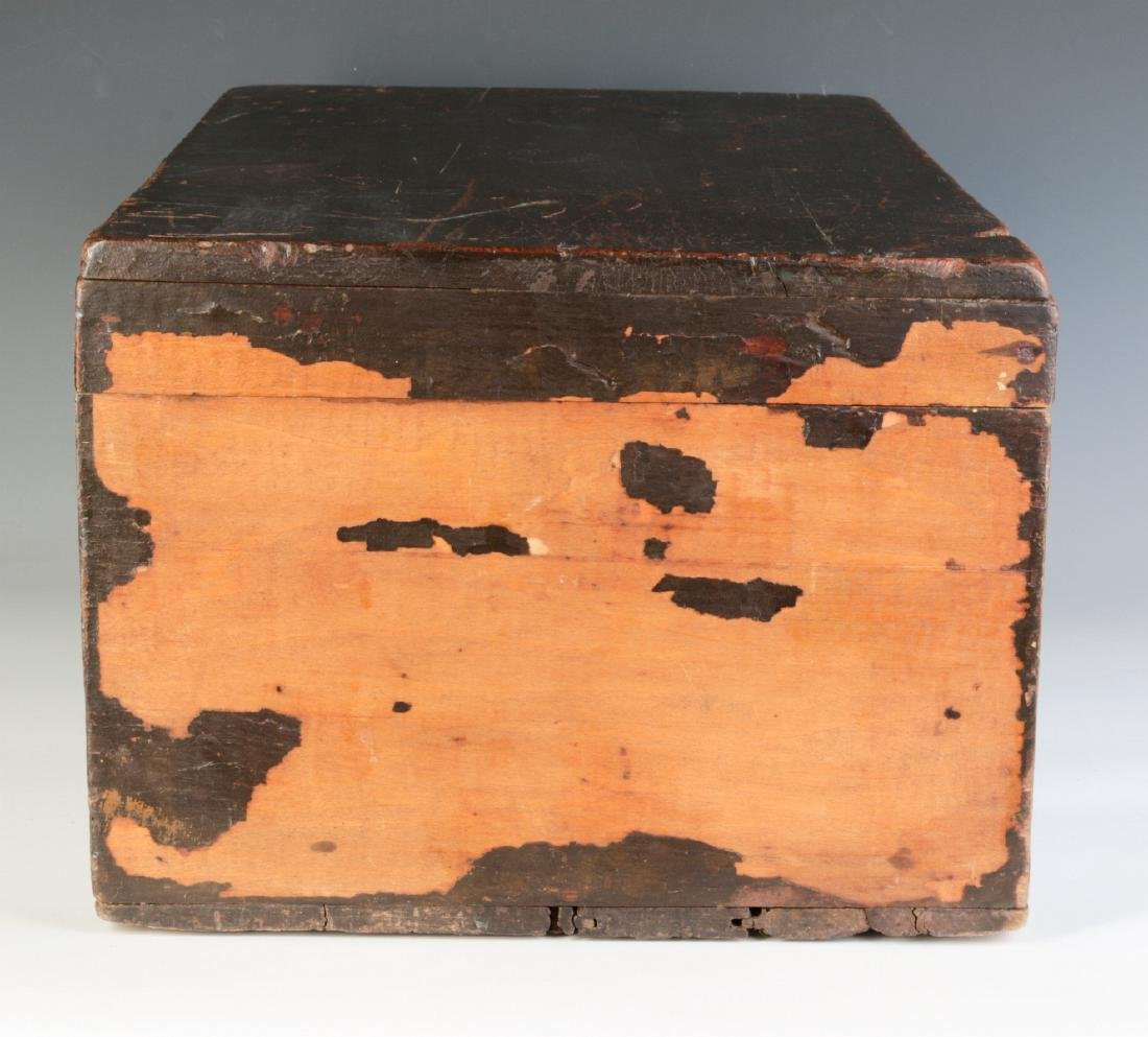 A 19TH CENTURY STORAGE BOX IN OLD BROWN PAINT - 4