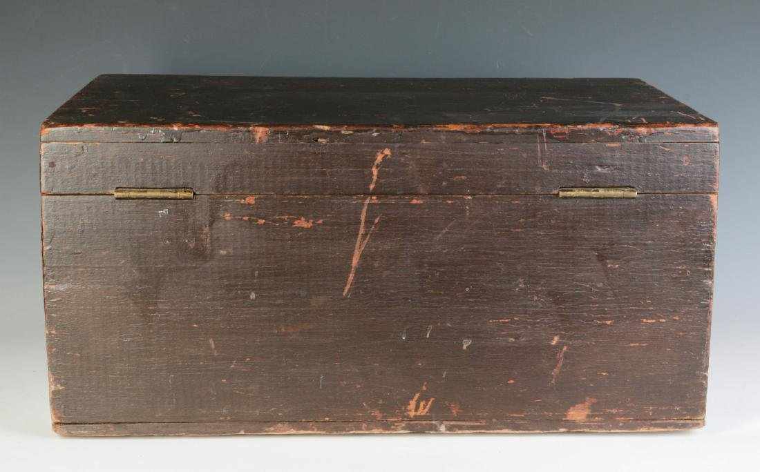 A 19TH CENTURY STORAGE BOX IN OLD BROWN PAINT - 5