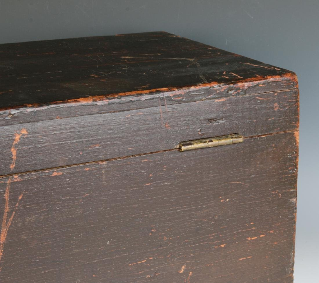 A 19TH CENTURY STORAGE BOX IN OLD BROWN PAINT - 7