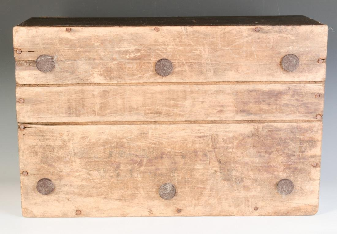 A 19TH CENTURY STORAGE BOX IN OLD BROWN PAINT - 8