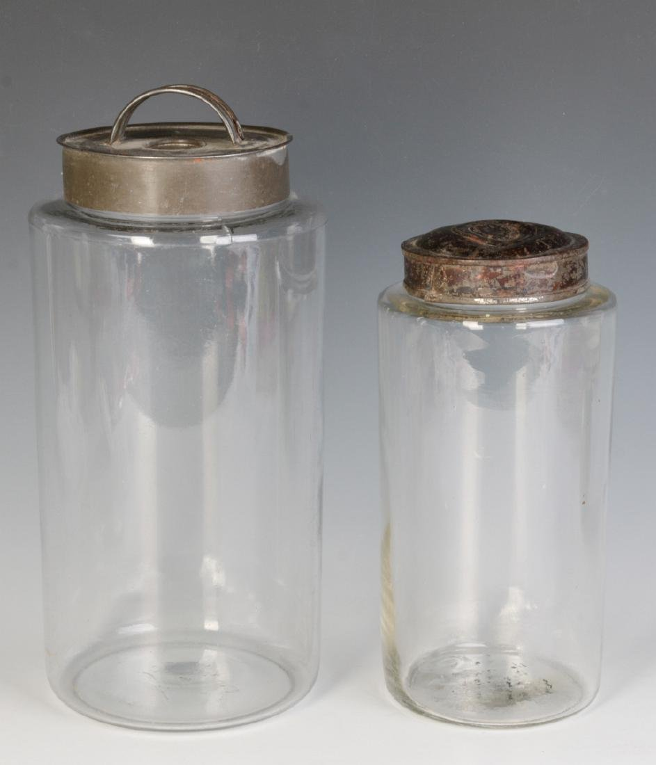 TWO EARLY BLOWN GLASS STORAGE JARS - 5
