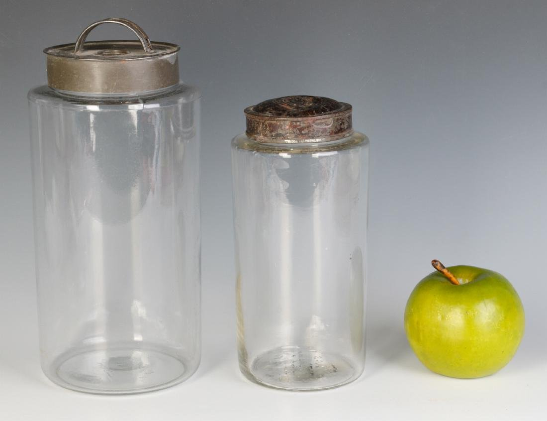 TWO EARLY BLOWN GLASS STORAGE JARS - 6