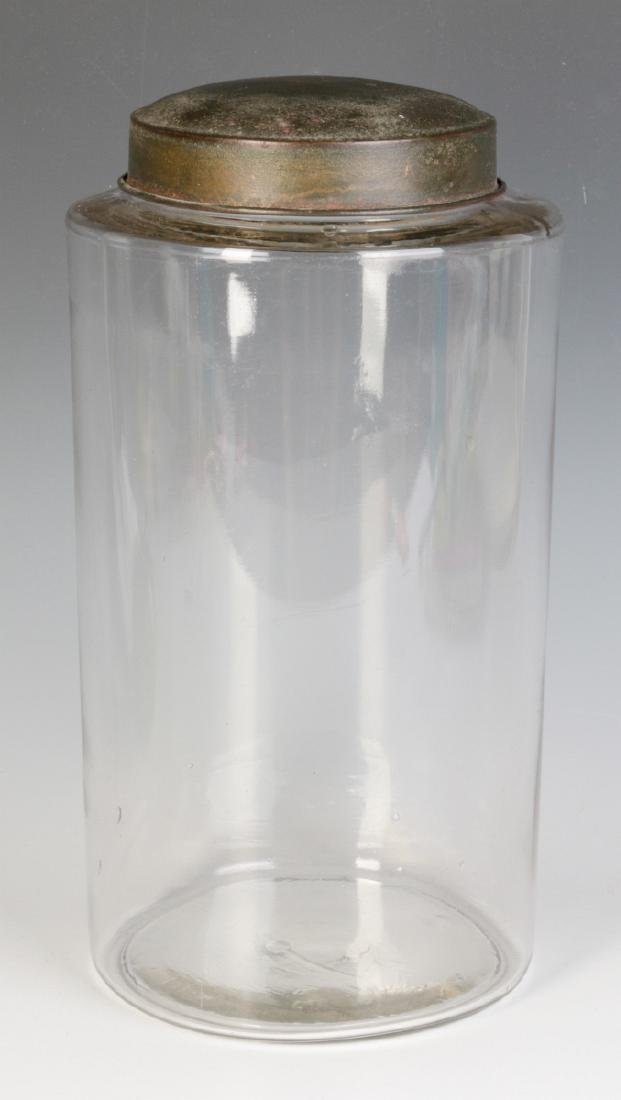 A TALL EARLY BLOWN GLASS STORAGE JAR WITH TOLE LID - 3
