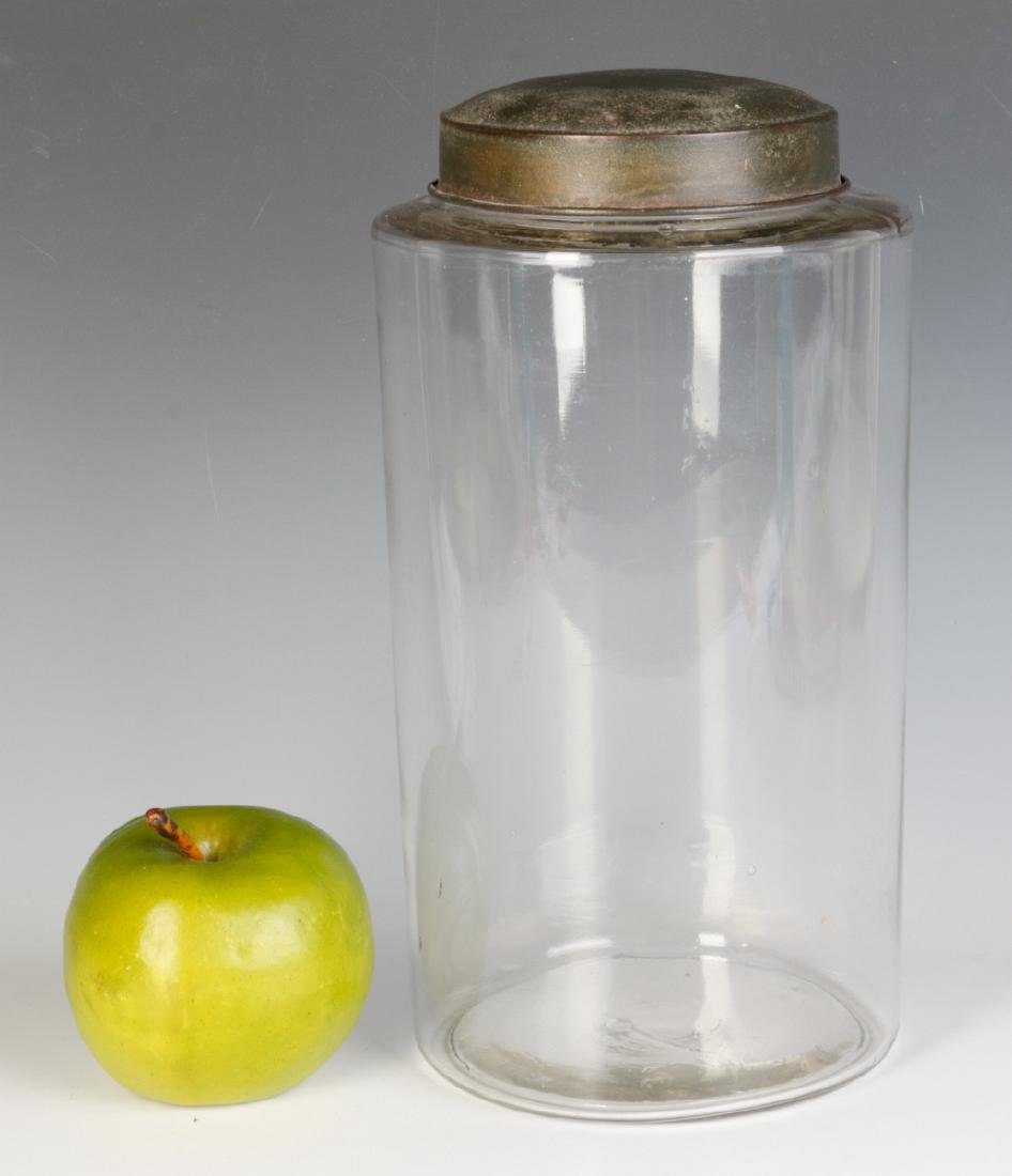 A TALL EARLY BLOWN GLASS STORAGE JAR WITH TOLE LID - 4