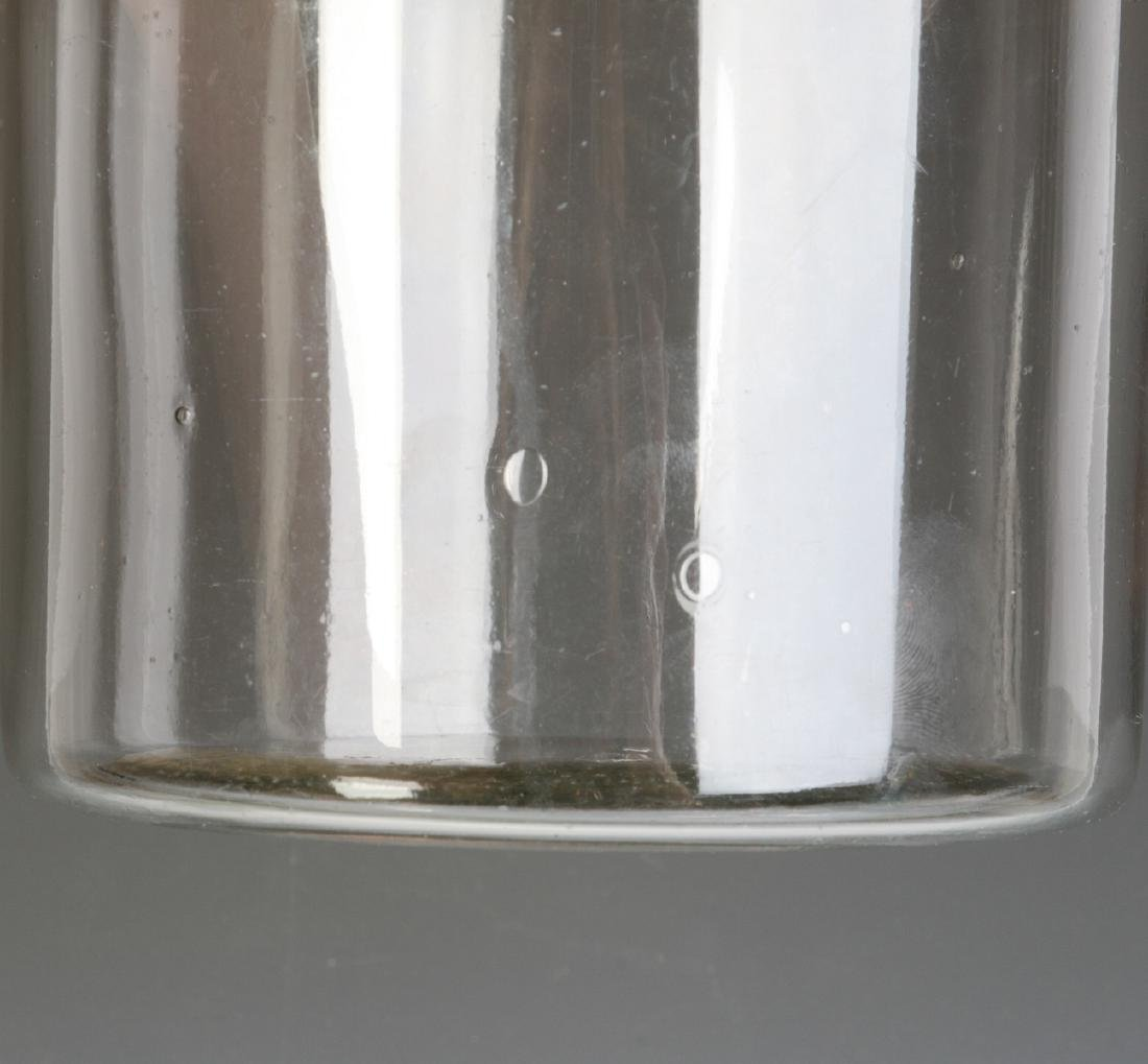 A TALL EARLY BLOWN GLASS STORAGE JAR WITH TOLE LID - 7
