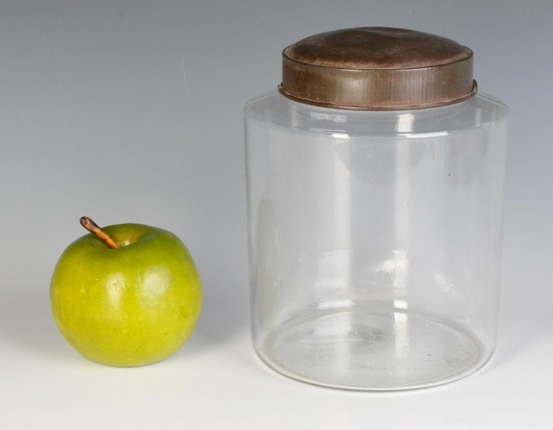 AN EARLY BLOWN GLASS STORAGE JAR WITH TOLE LID - 3