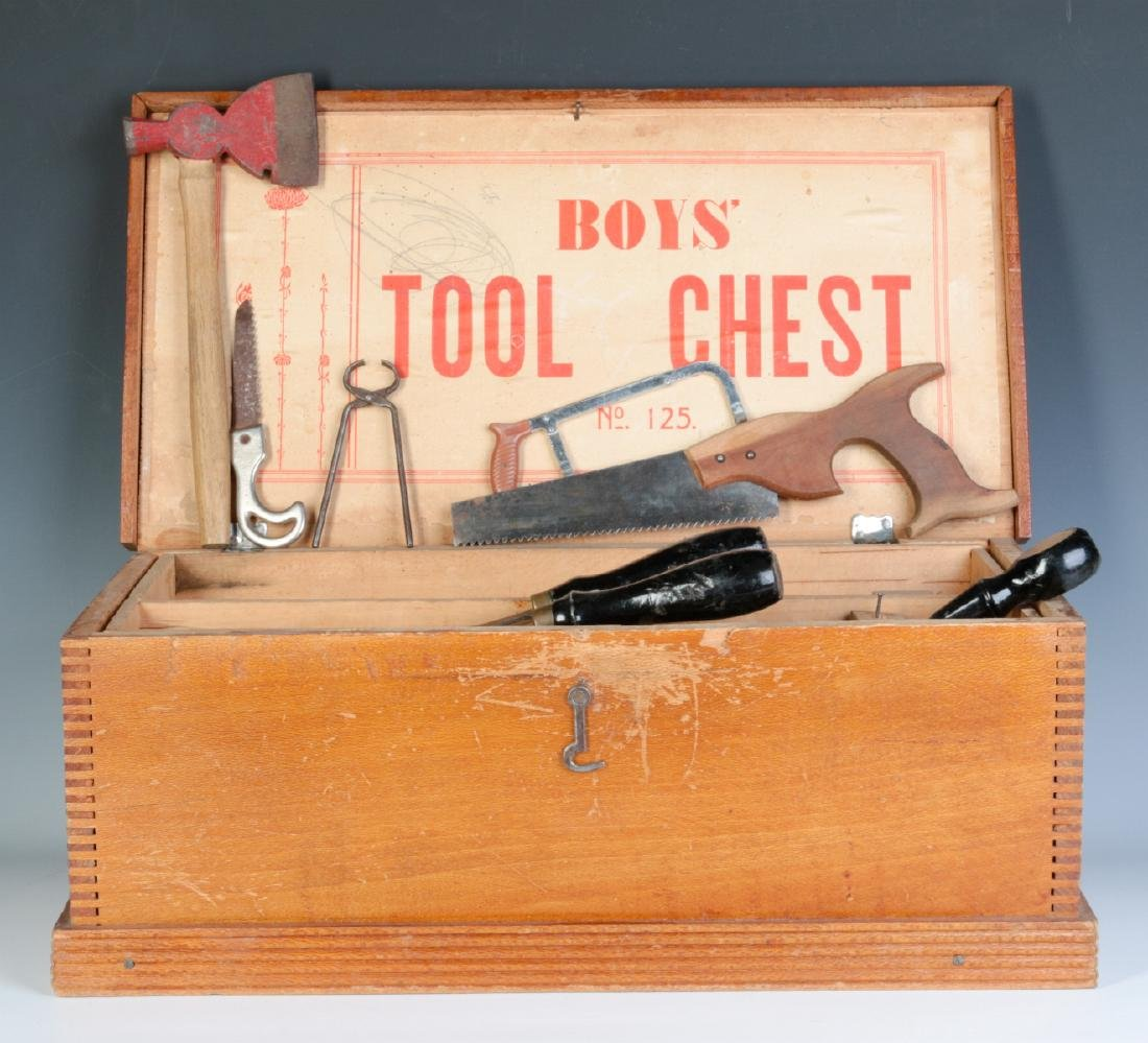 THE BOYS TOOL CHEST, WITH 'TOY' TOOLS, CIRCA 1930s