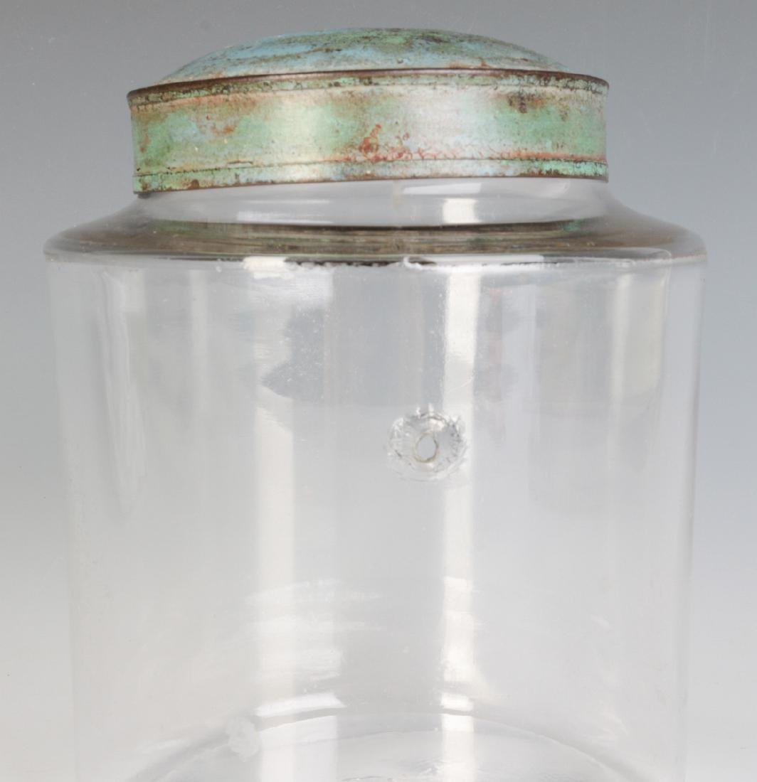 AN EARLY BLOWN GLASS STORAGE JAR WITH TOLE LID - 4