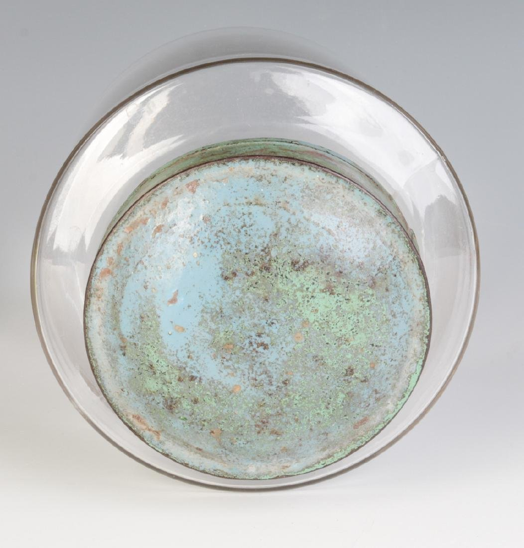 AN EARLY BLOWN GLASS STORAGE JAR WITH TOLE LID - 6