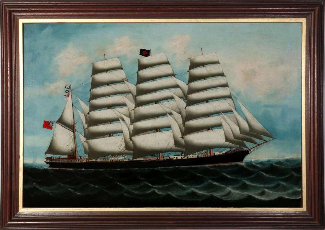 A GOOD 19TH CENTURY CHINA TRADE SHIP PORTRAIT