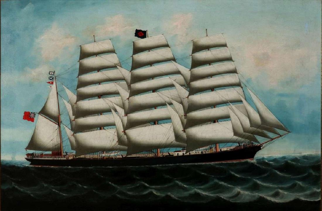 A GOOD 19TH CENTURY CHINA TRADE SHIP PORTRAIT - 2