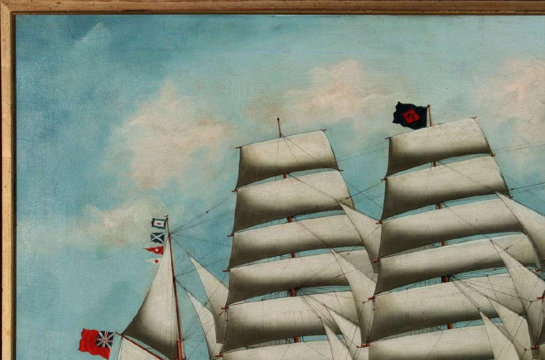 A GOOD 19TH CENTURY CHINA TRADE SHIP PORTRAIT - 3