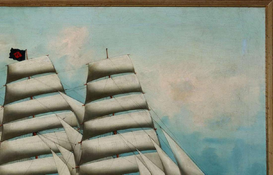 A GOOD 19TH CENTURY CHINA TRADE SHIP PORTRAIT - 4