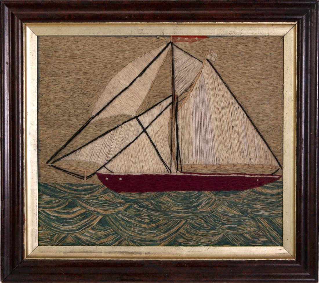 A 19TH C. SAILOR'S 'WOOLY' WOOL WORK SHIP PICTURE