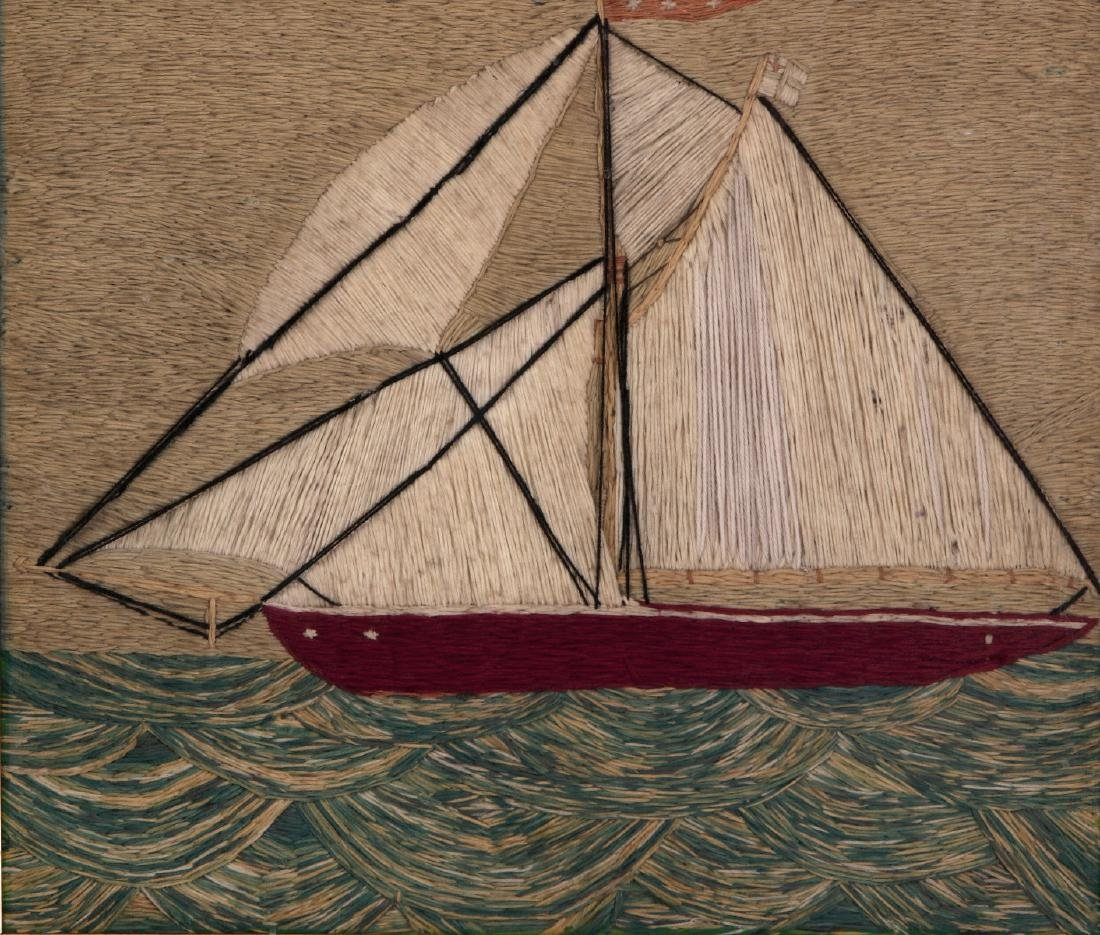 A 19TH C. SAILOR'S 'WOOLY' WOOL WORK SHIP PICTURE - 2