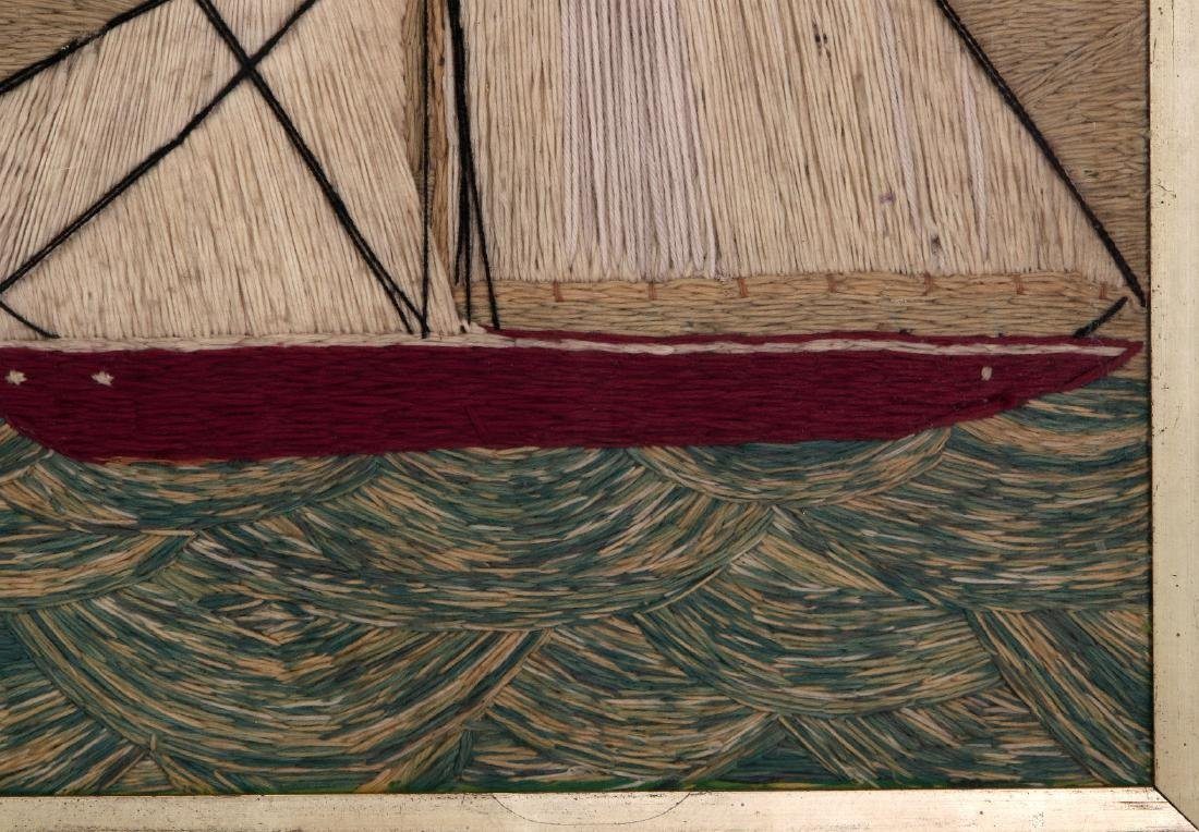 A 19TH C. SAILOR'S 'WOOLY' WOOL WORK SHIP PICTURE - 5