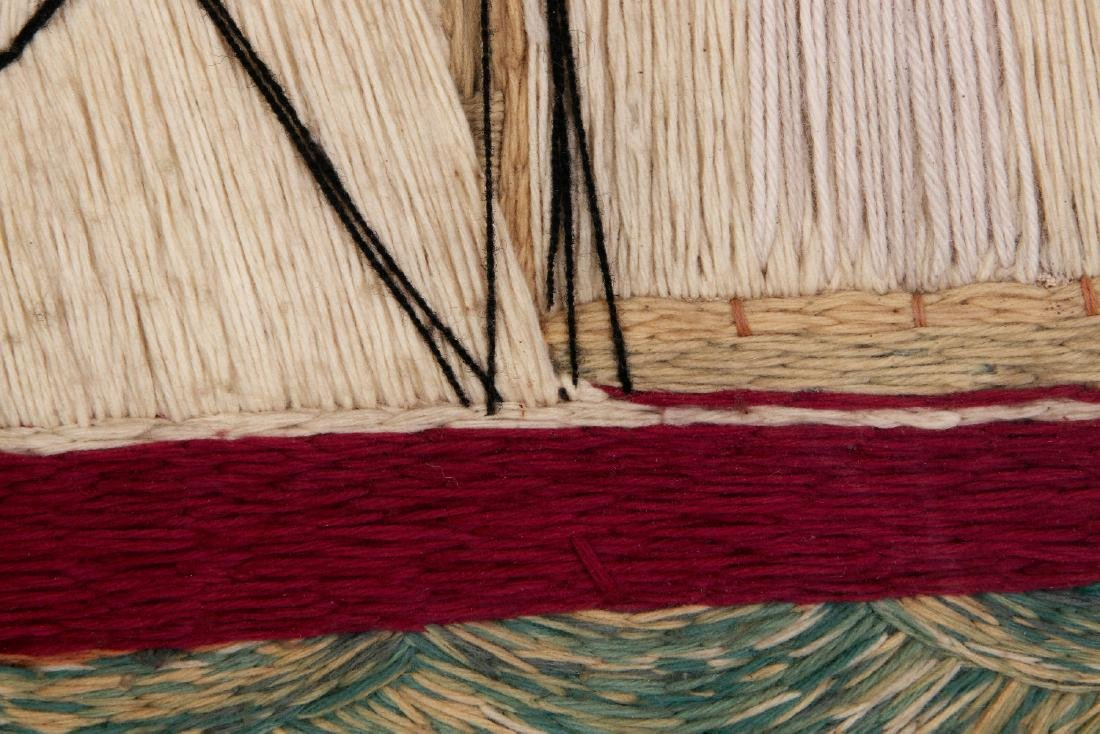 A 19TH C. SAILOR'S 'WOOLY' WOOL WORK SHIP PICTURE - 7