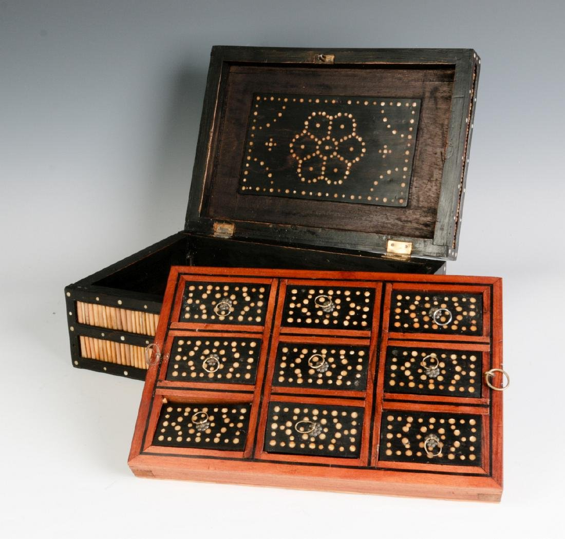 AN ANGLO-INDIAN QUILL BOX WITH DIVIDED INTERIOR - 5