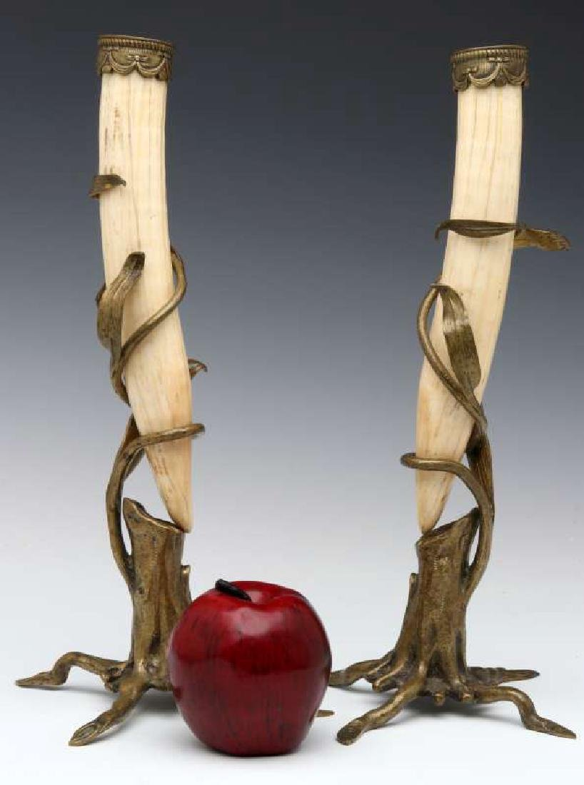 A PAIR OF BRONZE MOUNTED WALRUS TUSK STANDS - 2