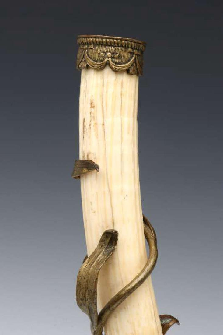 A PAIR OF BRONZE MOUNTED WALRUS TUSK STANDS - 3