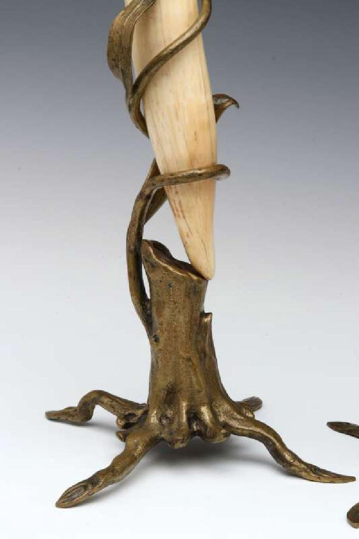 A PAIR OF BRONZE MOUNTED WALRUS TUSK STANDS - 4