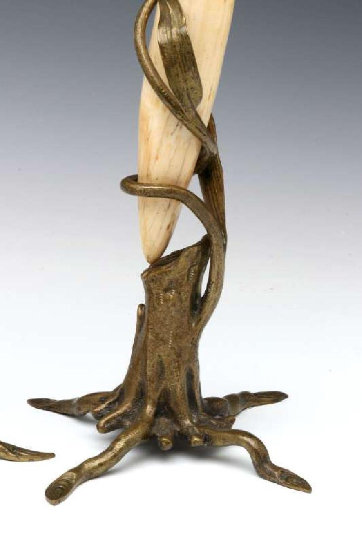 A PAIR OF BRONZE MOUNTED WALRUS TUSK STANDS - 6