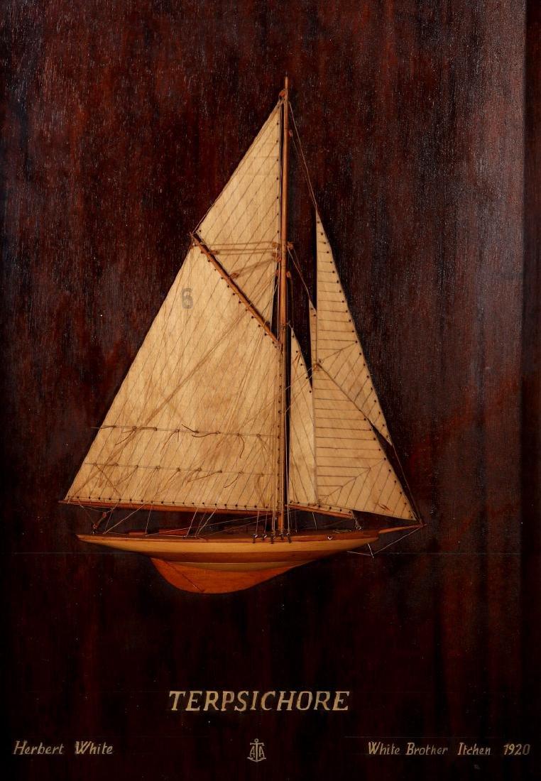 A FULL MAST HALF HULL SHADOW BOX SHIP MODEL, 1920 - 2