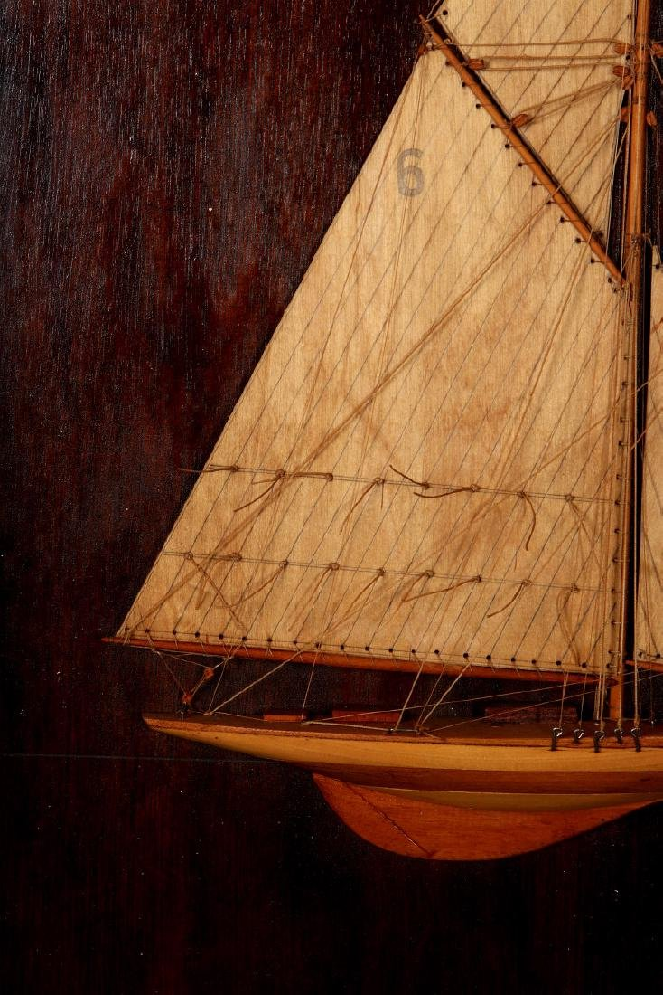 A FULL MAST HALF HULL SHADOW BOX SHIP MODEL, 1920 - 4