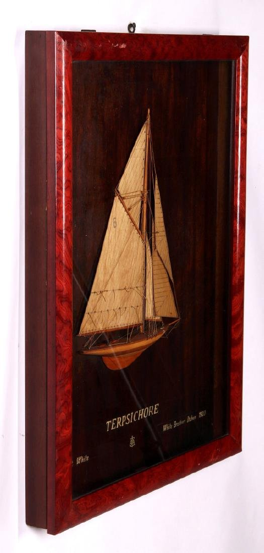 A FULL MAST HALF HULL SHADOW BOX SHIP MODEL, 1920 - 9