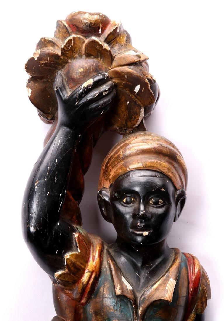 AN EARLY 20TH C. CARVED AND PAINTED BLACKAMOOR - 2