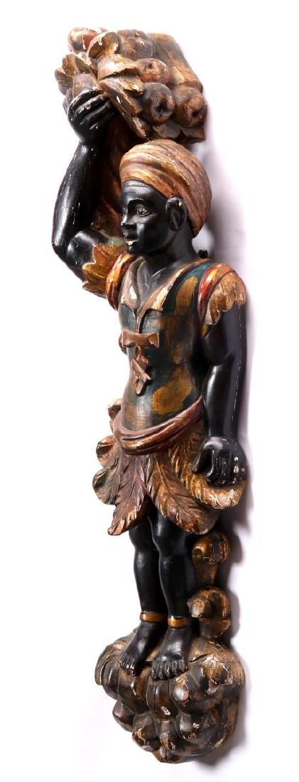AN EARLY 20TH C. CARVED AND PAINTED BLACKAMOOR - 7