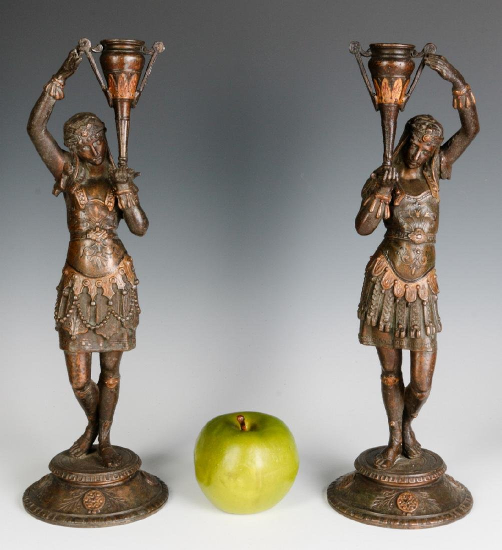 A PAIR 19TH C. EGYPTIAN REVIVAL PATINATED FIGURES - 10