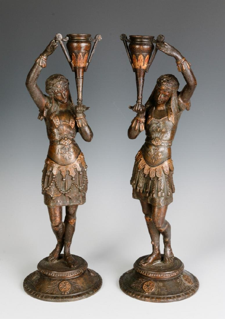 A PAIR 19TH C. EGYPTIAN REVIVAL PATINATED FIGURES