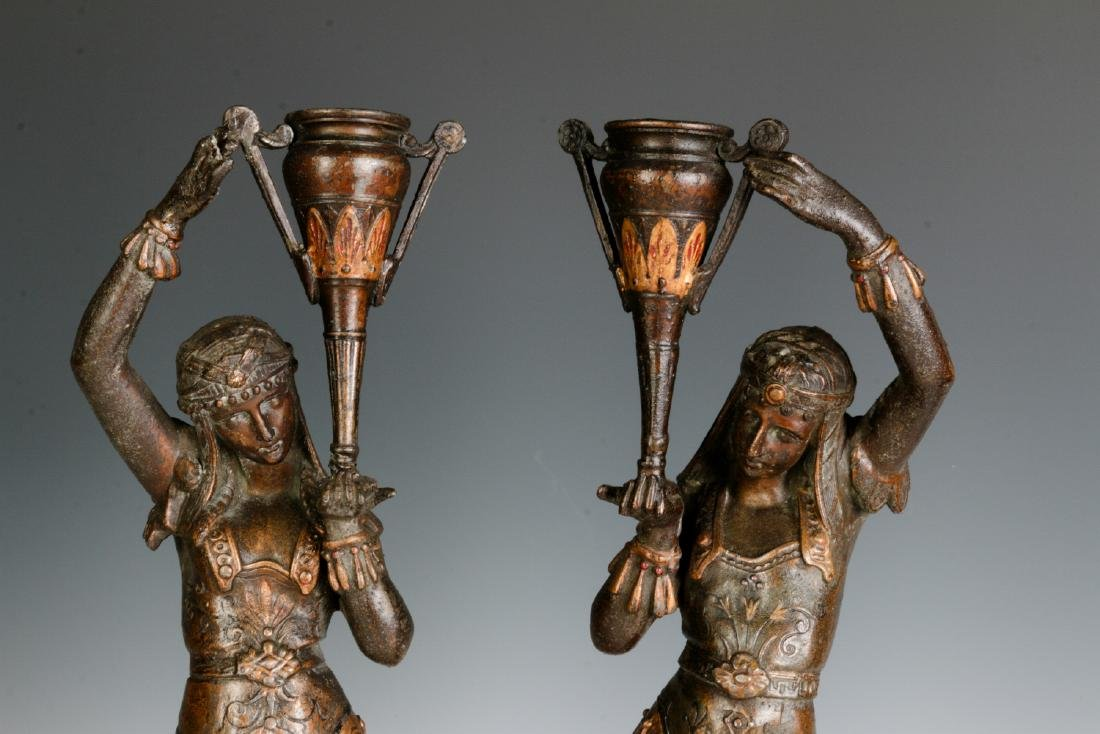 A PAIR 19TH C. EGYPTIAN REVIVAL PATINATED FIGURES - 2