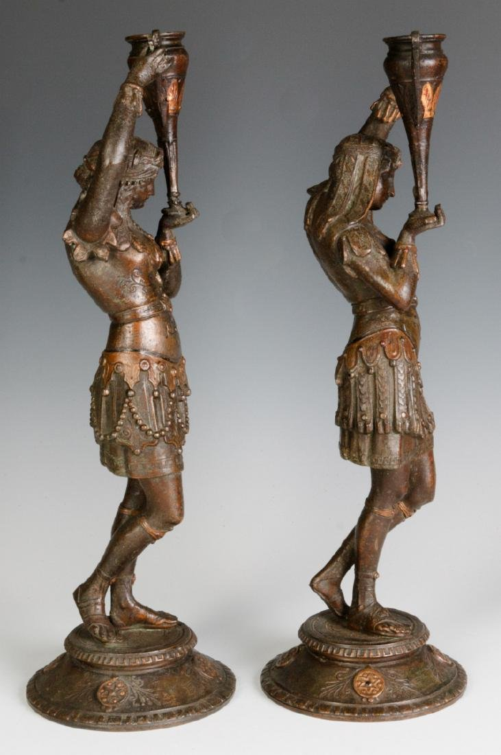 A PAIR 19TH C. EGYPTIAN REVIVAL PATINATED FIGURES - 3