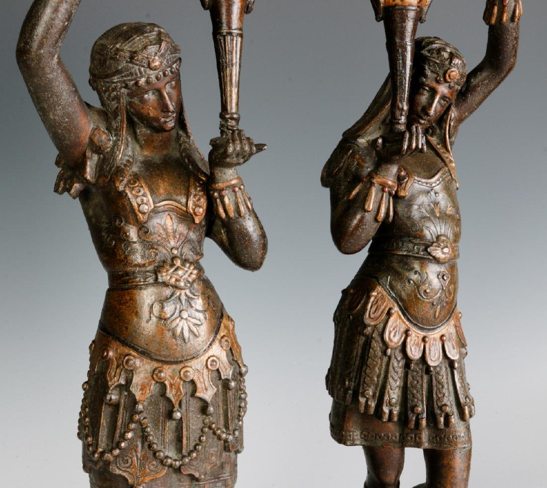 A PAIR 19TH C. EGYPTIAN REVIVAL PATINATED FIGURES - 9