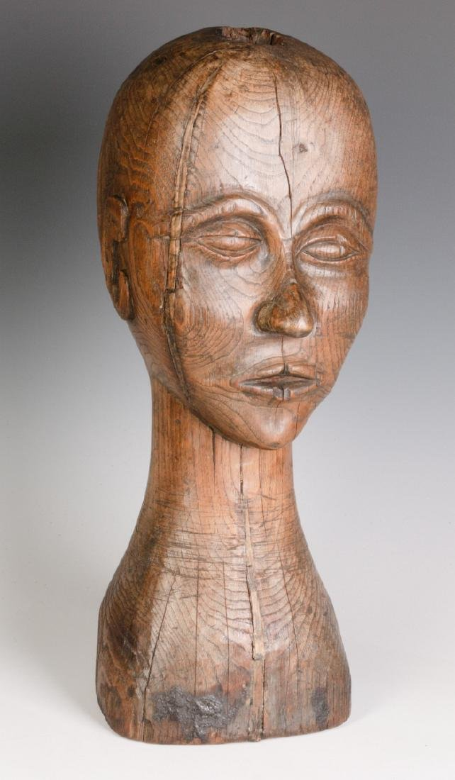A GOOD 19TH CENTURY CARVED OAK WIG STAND