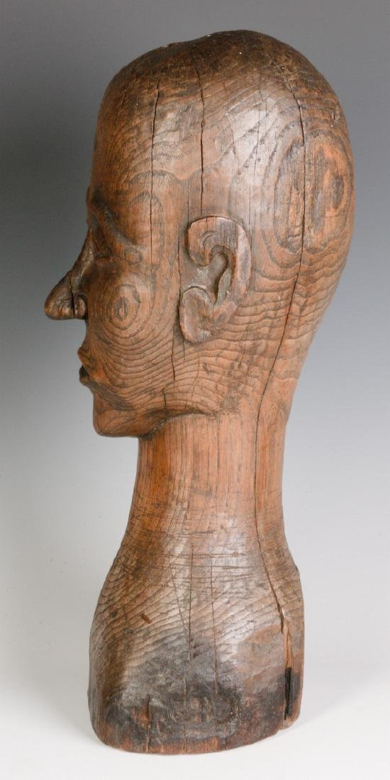 A GOOD 19TH CENTURY CARVED OAK WIG STAND - 5